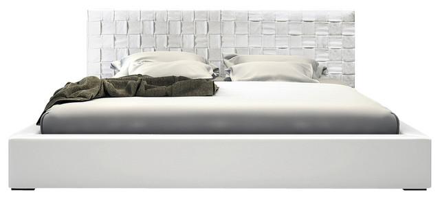 Modloft Madison White Leather Platform Bed - California King modern-beds