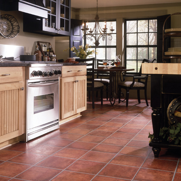Laminate Floor that Imitates Appearance of Saltillo Tile traditional laminate flooring