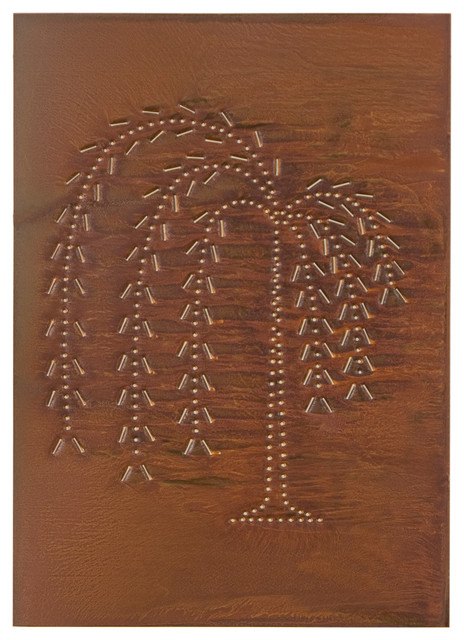 Four Handcrafted Punched Tin Cabinet Panel Primitive Willow Tree Design, Rustic - Farmhouse ...