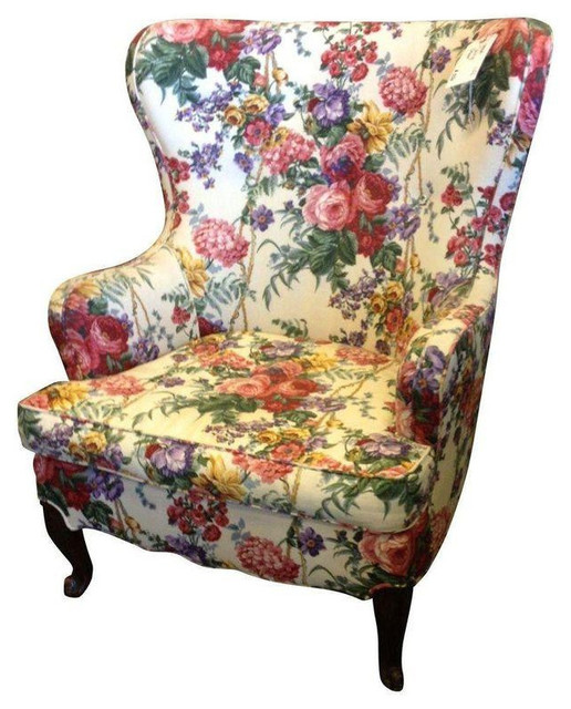 Floral Wingback Chair - Transitional - Armchairs And ...