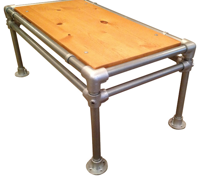 Reclaimed Wood Coffee Table Industrial Galvanized Pipe Pine Industrial By