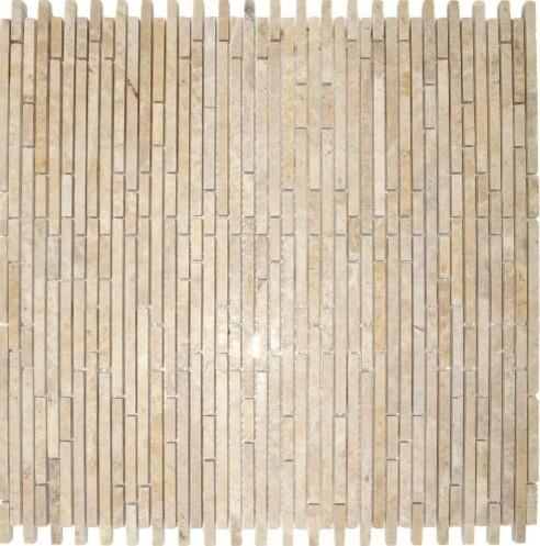 Crema Ivy Marble Bamboo Blend Random Strip Mosaic Tiles