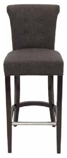 roll back fabric stool with tufted back and metal footrest contemporary bar stools and. Black Bedroom Furniture Sets. Home Design Ideas