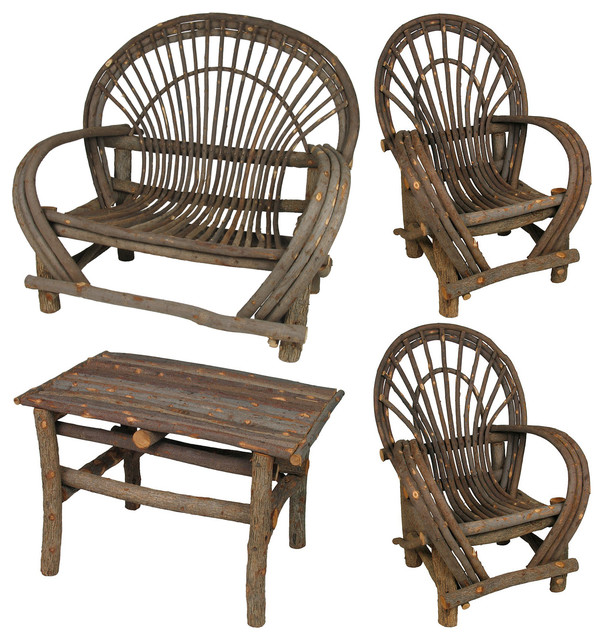 Rustic Twig Furniture Set With Bark 4 Piece Rustic Outdoor Lounge Chairs Phoenix By