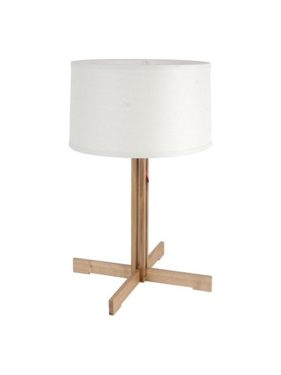 ParrotUncle - Wood Cross Base White Fabric Drum Shade Modern Table Lamp - Wood Cross Base White Fabric Drum Shade Modern Table Lamp