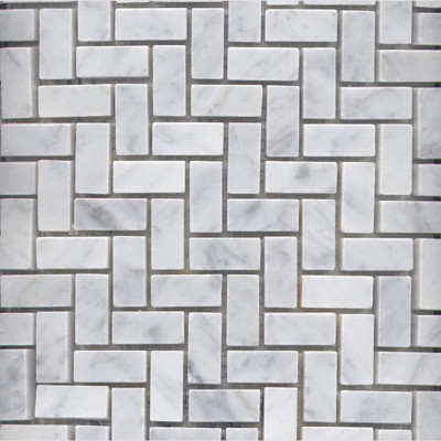 Bianco Carrara Marble Herringbone Mosaics traditional bathroom tile