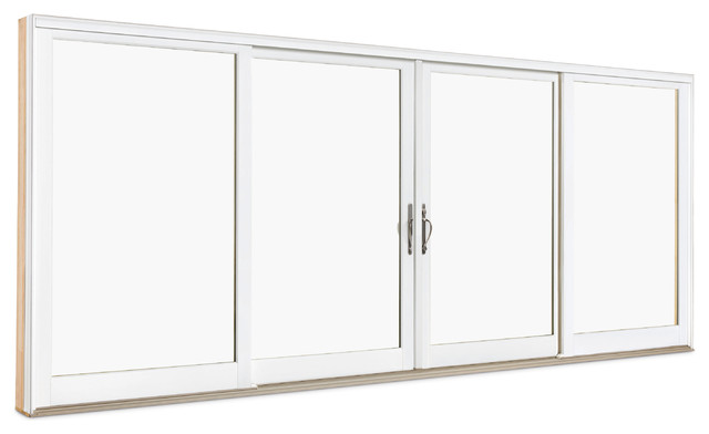 wood ultrex 4 panel sliding door exterior view