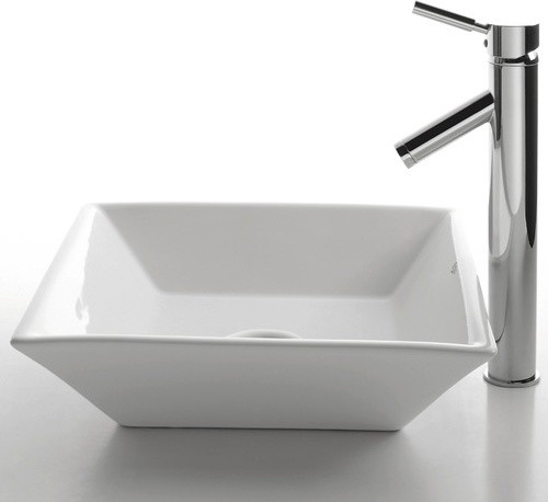 "Ceramic 4.5"" x 16.5"" Square Sink in White with Sheven Single Lever Faucet modern-bath-products"