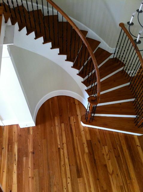 Custom Stained Reclaimed Heart Pine Flooring & Staircase rustic-hardwood-flooring