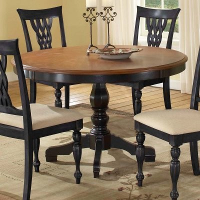 Embassy Round Pedestal Table with 48 Inch Pattern Veneer Wood Top-Cherry & B - Modern - Dining ...