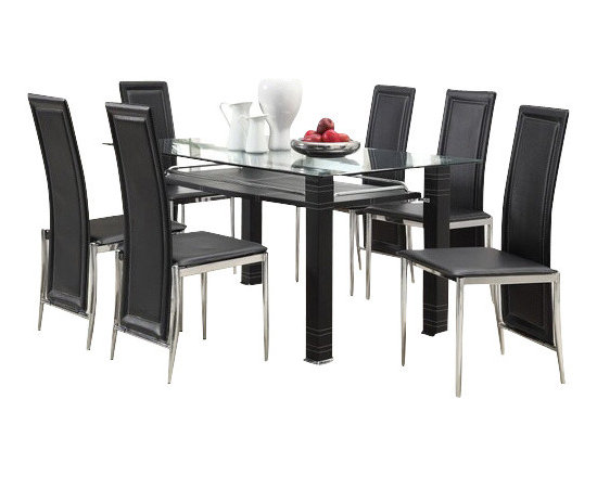 """Acme - 7-Piece Riggan Ii Collection Modern Style Black Leather-Like Dinette Set - 7-Piece Riggan II collection modern style black leather like upholstered chairs glass top dinette set . This set features a glass top table with metal base and glass top , 6 - side chairs with a Black leather like upholstery. Table measures 35"""" x 59"""" . Chairs measure 39"""" H at the back. Some assembly required."""