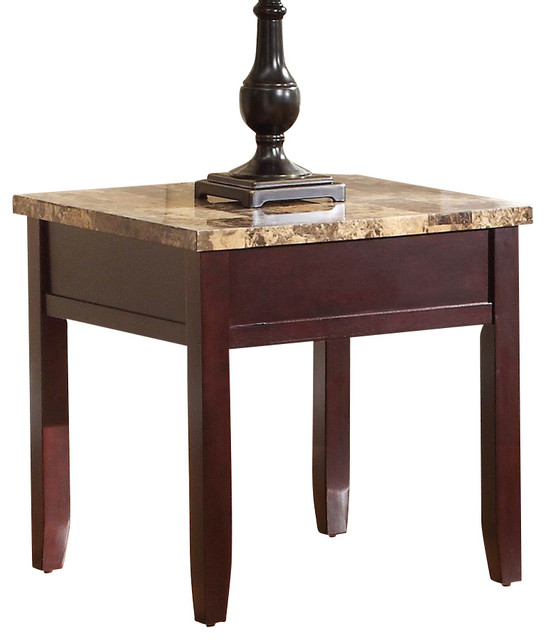 Homelegance Orton Faux Marble Top End Table In Rich Cherry Traditional Side Tables And End