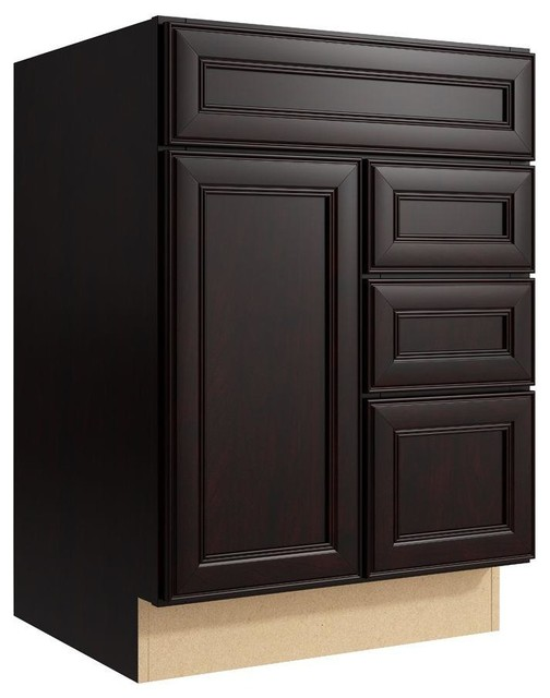 Cardell Cabinets Boden 24 in. W x 34 in. H Vanity Cabinet Only in Coffee brown - Contemporary ...