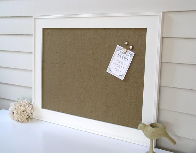 Handcrafted Burlap Magnetic Bulletin Boards with Hardwood Frames bulletin-board