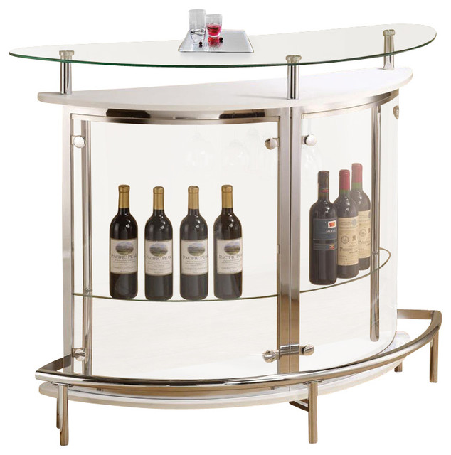 Modern White Clear Front Glass Top Wine Stemware Rack Bar Unit Table - Contemporary - Wine And ...