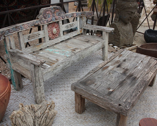 Reclaimed Teak Bench & Table from Bali -
