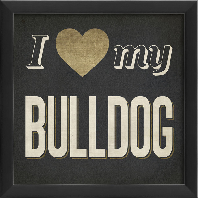 'I Heart My Bulldog' Print contemporary-prints-and-posters
