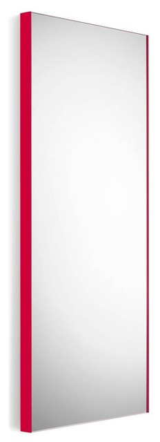 Wall Mount Mirror with Red Frame contemporary-wall-mirrors
