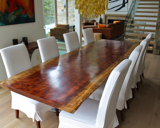 African Bubinga Dining Table - Surely a focal point of this magnificent home - The Bubinga Table with the client's choice of chairs. Photo courtesy of the client.