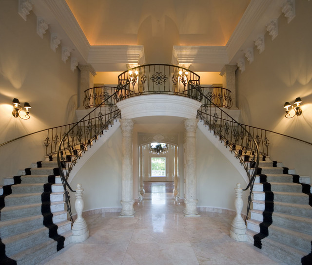 Classical grand foyer double staircase for a mediterranean Inside staircase in houses