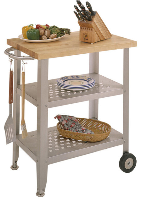Brown & Stainless Steel Prep Cart traditional-kitchen-islands-and-kitchen-carts