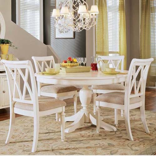 American Drew Camden 5 Pc White Round Pedestal Dining Table Set Traditional Dining Tables