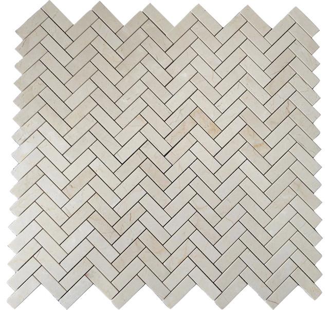 Crema Marfil 1x3 Herringbone Marble Mosaic Tile