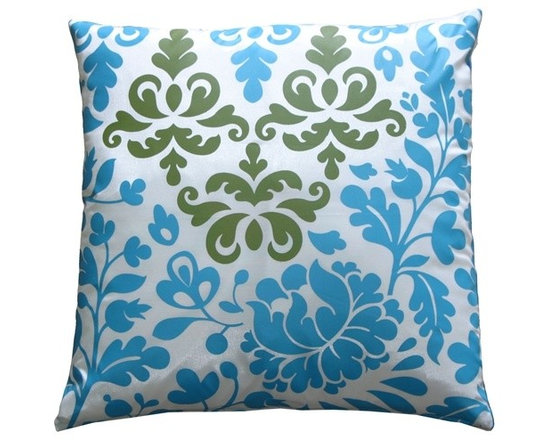 Pillow Decor - Pillow Decor - Bohemian Damask Blue, White and Olive Throw Pillow - Bring a splash of playful color into your bedroom, living room or sun room. This beautiful print has a white base with a teal blue and olive green botanical design. The back of the pillow is a solid shimmering blue. This contemporary pillow is bold and fresh, and is a great highlight in any room.