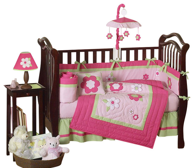 Pink and Green Flower 9-Piece Crib Bedding Set contemporary-cribs