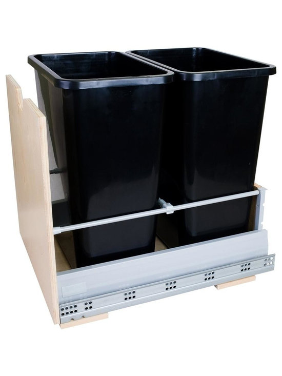 Hardware Resources - 35 Quart Double Pull Out Waste Container System - Includes two heavy duty polymer trash cans. Front with tall frame and scoop handle. Built on metal drawer box system. 100 lbs. full extension soft-closing undermount slides. Can be mounted directly to cabinet door. Quickly mounts to cabinet floor using four screws. Designed for used with 13 gallon tall kitchen trash bags. For cabinets with 17 in. minimum opening width. Sleek design with epoxy coated gray metallic drawer sides. UV coated edge banded Baltic birch plywood front and back. Made in USA. 17 in. W x 21.25 in. D x 19.44 in. H. Specifications