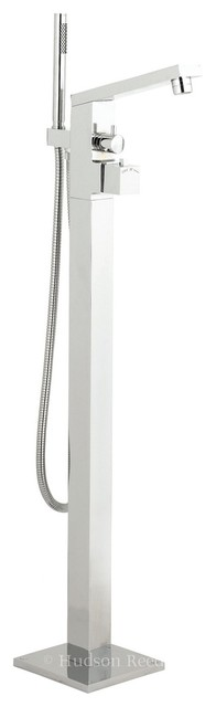 Modern Freestanding Thermostatic Tub Shower Mixer Faucet Wall Bracket contemporary-showers