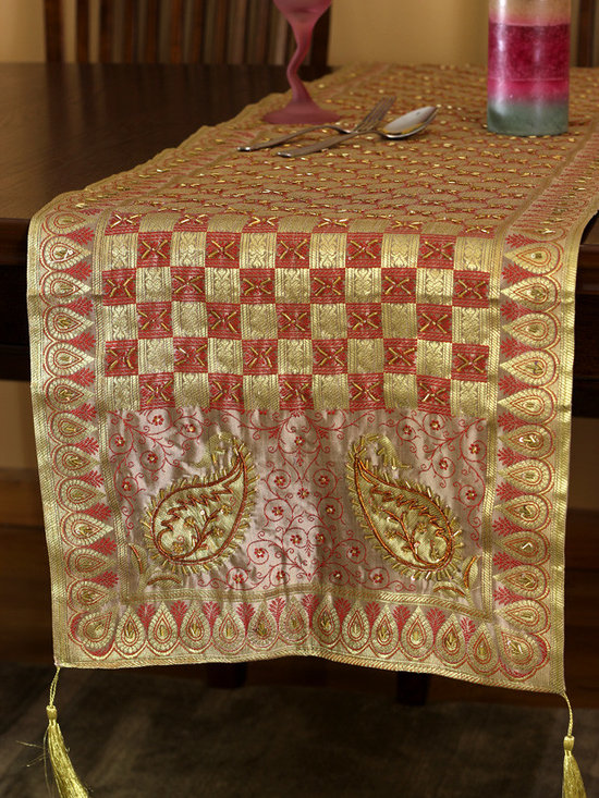 """Elegant Table Runners - Colorful table runner """"Golden Vanilla Cherry"""". Very unique hand embroidered pattern with beautiful hand crafted design. Pink Cream Orange"""