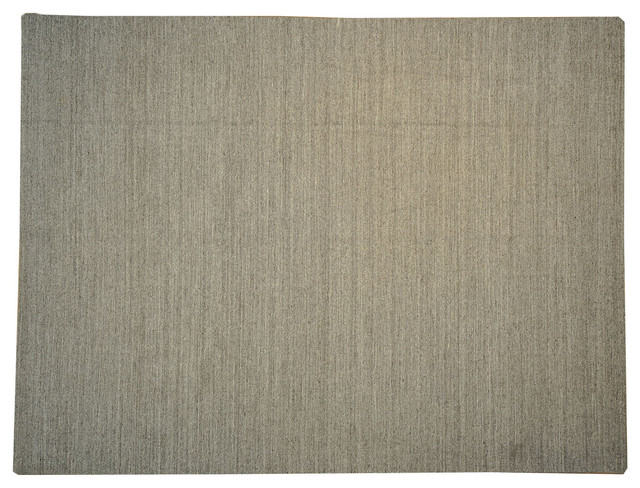 100% Wool Thick Flat Weave Taupe Durie Kilim Plain Hand Woven Rug Sh14558 traditional-area-rugs