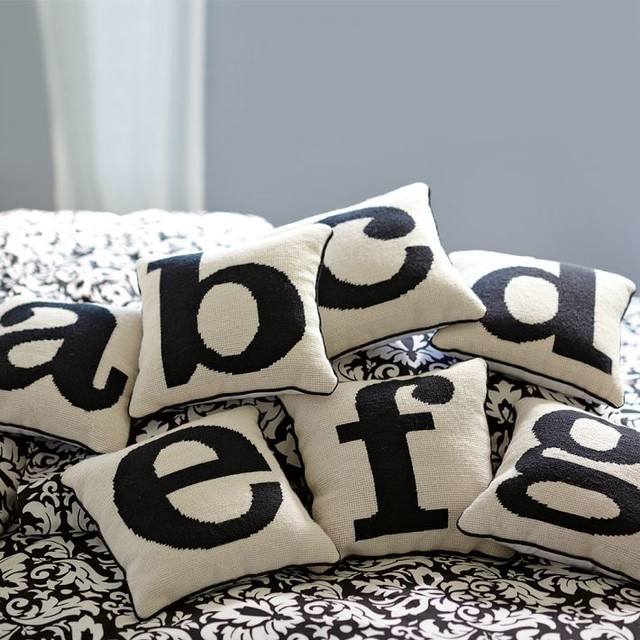 Alphabet Needlepoint Pillow traditional pillows