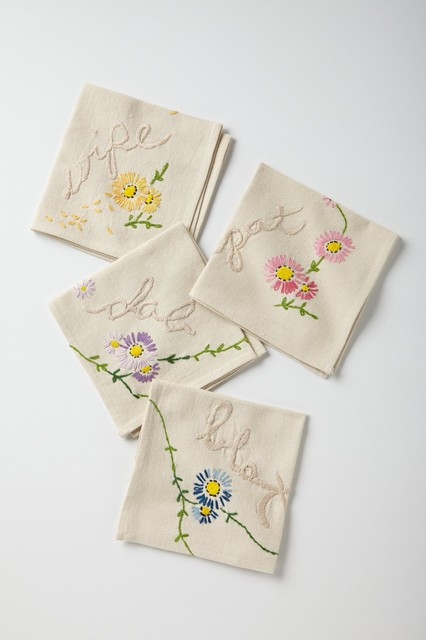 Hand-Embroidered Etiquette Napkins - contemporary - napkins - by