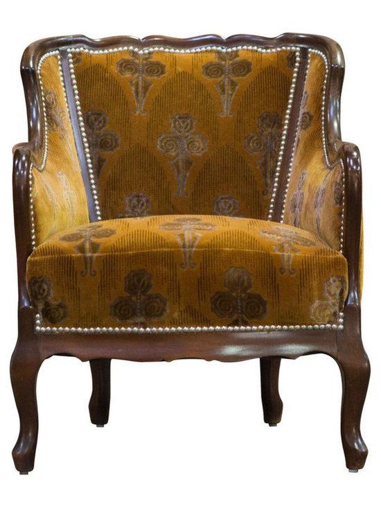 Orange Velvet Vintage Deco Club Chair - $900 Est. Retail - $450 on Chairish.com -