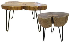 Wooden accent side tables contemporary