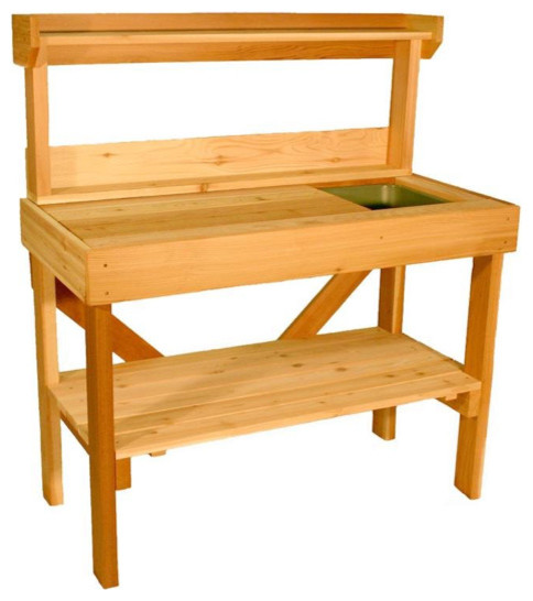 Cedar Wood Potting Bench With Sink Traditional Potting Benches By Benches