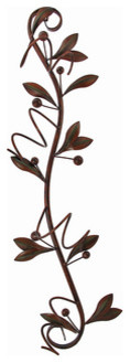 35 Inch Vertical Olive Branch Metal Wine Holder Wall Mount traditional-wine-racks