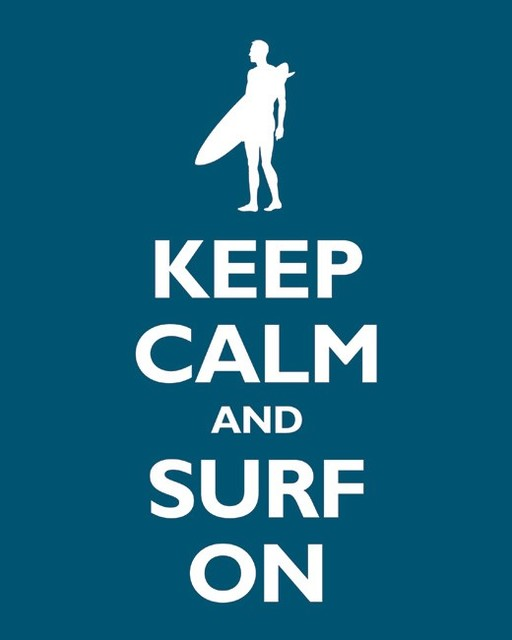 Keep Calm and Surf On, Oceanside contemporary-prints-and-posters