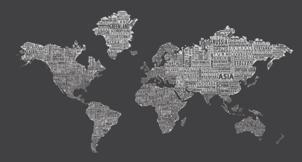 1 world text map wall mural 107 x57 3 panel wallpaper for Black and white world map wall mural