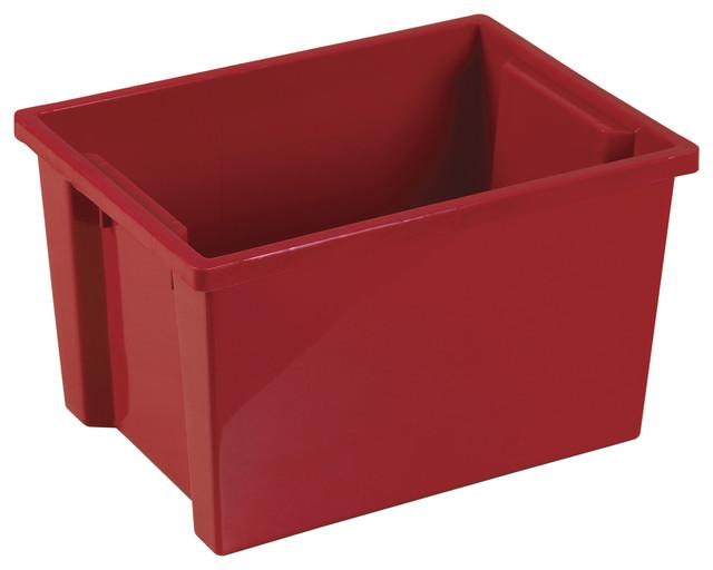 Ecr4Kids Classroom Rectangular Large Storage Organizer Plastic Bin Red 20 Pack - Contemporary ...