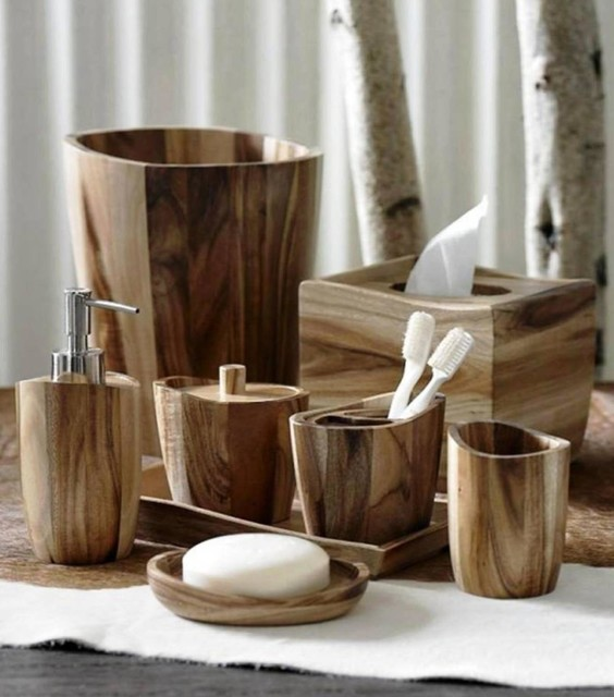 Acacia Wood Bath Accessories By Kassatex Rustic
