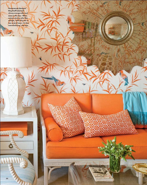 Orange And Aqua: Orange And Turquoise Chinoiserie