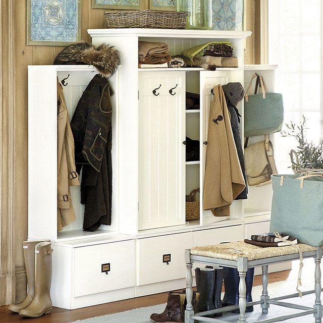 Beadboard entryway cabinet with doors traditional hall Entryway storage cabinet