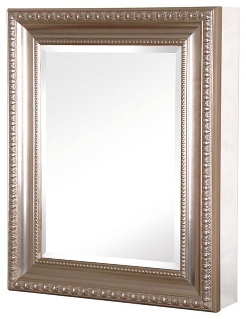 Pegasus Sp4596 24 X 30 Deco Framed Medicine Cabinet In Brushed Nickel Traditional Bathroom