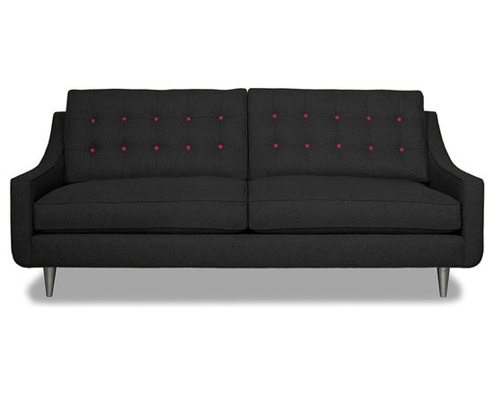 Apt2B.com - Cloverdale Sofa Coal Coal/Pink Lemonade - This cozy sofa is as comfortable as it is sophisticated. With an unexpected pop of color in the button tufting and a nice deep seat it's a perfect place to cuddle up with your date.