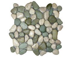 Glazed Sea Green and White Pebble Tile rustic-tile