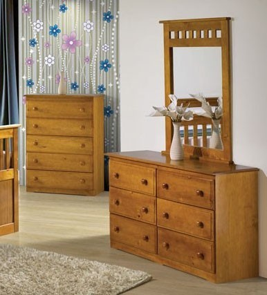 acme furniture atlas honey oak dresser and mirror set 30050 30051