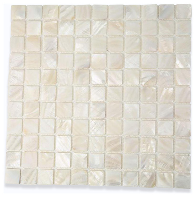 Mother Of Pearl Oyster White Tile contemporary-tile